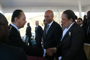 Haiti-President-Michel-Martelly-wife-greet-Jean-Claude-Duvalier-at-Titanyen-earthquake-commemoration-ceremony-011212-by